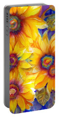 Sunflowers On Blue II Portable Battery Charger