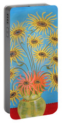 Portable Battery Charger featuring the painting Sunflowers On Blue by Marie Schwarzer