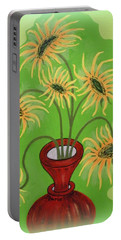 Sunflowers On Green Portable Battery Charger by Marie Schwarzer
