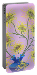 Sunflowers On Pink Portable Battery Charger by Marie Schwarzer