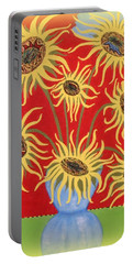 Portable Battery Charger featuring the painting Sunflowers On Red by Marie Schwarzer