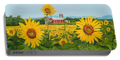 Sunflowers On Route 45 - Pennsylvania- Autumn Glow Portable Battery Charger