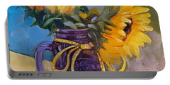 Portable Battery Charger featuring the painting Sunflowers/ Purple Mug by Judy Fischer Walton