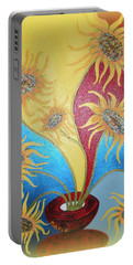 Sunflowers Symphony Portable Battery Charger by Marie Schwarzer