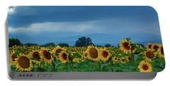 Sunflowers Under A Stormy Sky Portable Battery Charger