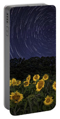 Sunflowers Under The Night Sky Portable Battery Charger