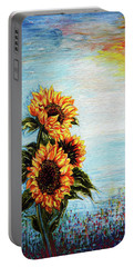 Sunflowers - Where Ocean Meets The Sky Portable Battery Charger