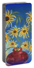 Portable Battery Charger featuring the painting Sunflowers On Navy Blue by Marie Schwarzer