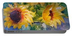 Portable Battery Charger featuring the painting Sunfowers/blue Ball Jar by Judy Fischer Walton