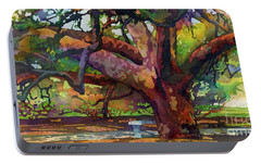 Portable Battery Charger featuring the painting Sunlit Century Tree by Hailey E Herrera