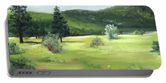 Portable Battery Charger featuring the painting Sunlit Mountain Meadow by Jane Autry