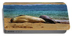Sunning On The Beach In Hawaii Portable Battery Charger by Craig Wood