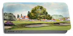 Portable Battery Charger featuring the painting Sunningdale Golf Course 18th Green by Bill Holkham