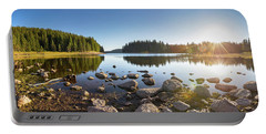 Sunny Landscape Of A Mountain Lake Portable Battery Charger