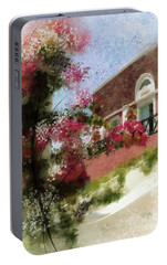 Portable Battery Charger featuring the photograph Sunny Santorini by Lois Bryan