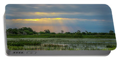 Sunrays On The Wetlands Portable Battery Charger by Tom Claud