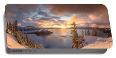 Sunrise After Summer Snowfall Portable Battery Charger