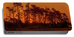 Sunrise Along A Tree Line Portable Battery Charger
