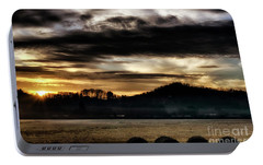 Portable Battery Charger featuring the photograph Sunrise And Hay Bales by Thomas R Fletcher