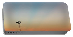 Sunrise And Windmill 02 Portable Battery Charger by Rob Graham