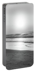 Portable Battery Charger featuring the photograph Sunrise At Beach Black And White  by John McGraw