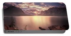 Sunrise At Lake Minnewanka Portable Battery Charger