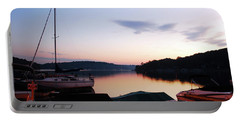 Sunrise At The Lake Portable Battery Charger by James Kirkikis