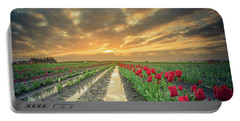Portable Battery Charger featuring the photograph Sunrise At Tulip Filed After A Storm by William Lee