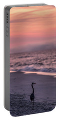 Portable Battery Charger featuring the photograph Sunrise Beach And Bird by John McGraw