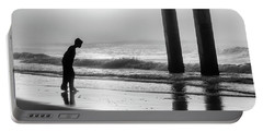 Portable Battery Charger featuring the photograph Sunrise Boy In Foggy Beach by John McGraw