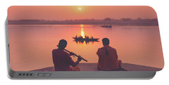 Sunrise By The Ganges Portable Battery Charger
