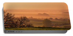 Portable Battery Charger featuring the photograph Sunrise Foggy Valley by Jenny Rainbow