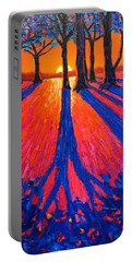 Sunrise In Glory - Long Shadows Of Trees At Dawn Portable Battery Charger by Ana Maria Edulescu
