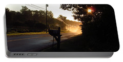 Sunrise On A Country Road Portable Battery Charger