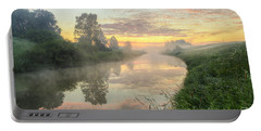 Sunrise On A Misty River Portable Battery Charger