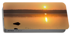 Sunrise On The Rocks Of Branch Lake - Maine Portable Battery Charger