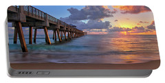 Sunrise Over Juno Beach Pier In Florida Portable Battery Charger