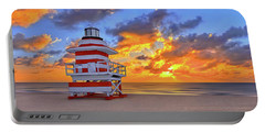 Sunrise Over Lifegaurd Stand On South Miami Beach  Portable Battery Charger by Justin Kelefas