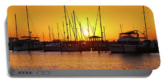 Portable Battery Charger featuring the photograph Sunrise Over Long Beach Harbor - Mississippi - Boats by Jason Politte
