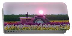 Sunrise Pink Greets John Deere Tractor Portable Battery Charger by Susan Garren