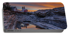 Sunrise Reflections At Pemaquid Point Portable Battery Charger