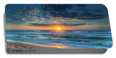 Sunrise Seascape With Footprints In The Sand Portable Battery Charger