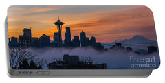 Sunrise Seattle Skyline Above The Fog Portable Battery Charger