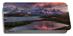 Sunrise Spectacular At Torres Del Paine. Portable Battery Charger