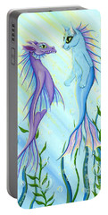 Portable Battery Charger featuring the painting Sunrise Swim - Sea Dragon Mermaid Cat by Carrie Hawks