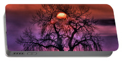 Sunrise Through The Foggy Tree Portable Battery Charger