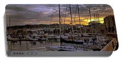 Sunrise Vigo Harbour Galacia Spain Portable Battery Charger by Lynn Bolt