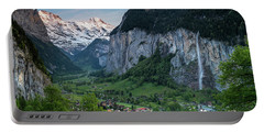 Sunset Above The Lauterbrunnen Valley Portable Battery Charger