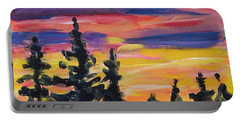 Portable Battery Charger featuring the painting Sunset Alaska by Yulia Kazansky