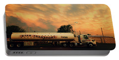 Sunset And A Star Transport Semi Truck Portable Battery Charger